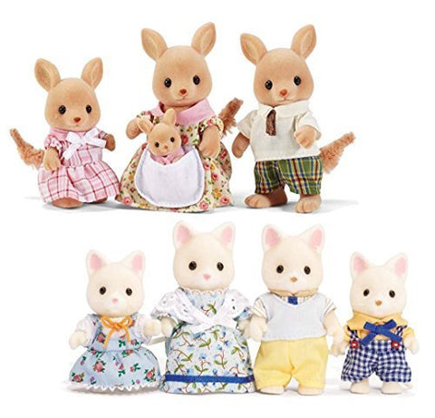Calico Critters Silk Cat Family and Hopper Kangaroo Family Set  Bundled by Maven Gifts