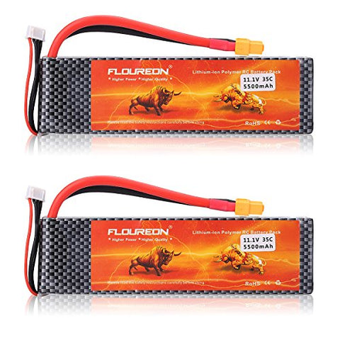 FLOUREON 2Packs 3S 11.1V 5500mAh 35C Lipo Battery Pack with XT60 Plug for RC Quadcopter Airplane Helicopter Car Truck Boat Hobby (XT60 Plug)
