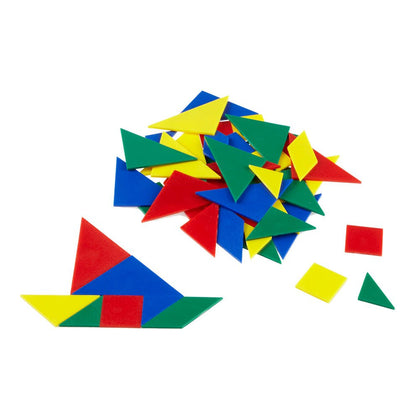 Hand2Mind Plastic Tangrams, Manipulative Set For Math Puzzles