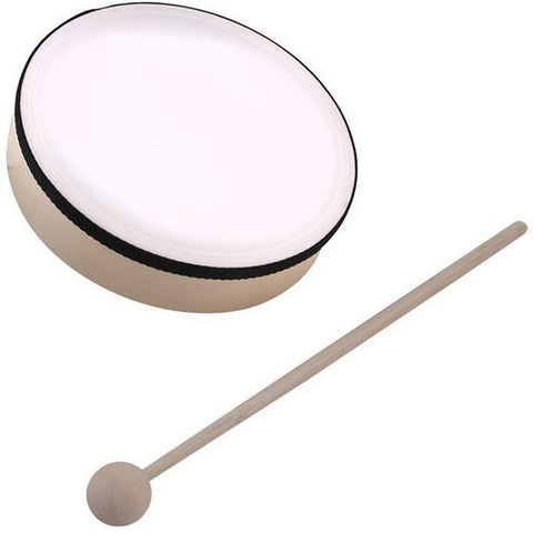 Synthetic Head Hand Drum With Wooden Mallet - 6 Inches