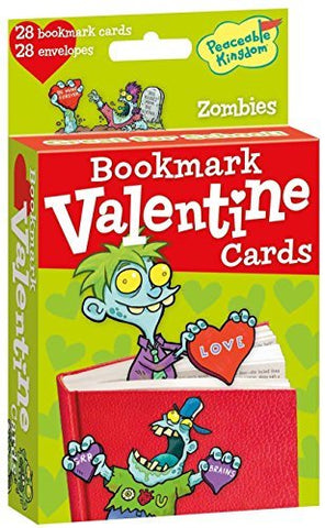Peaceable Kingdom 28 Card Pop-Out Zombie Bookmark Valentines with Envelopes