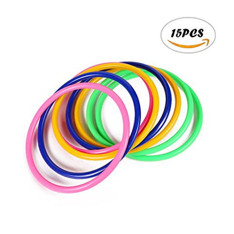 15PCS Acmer 4.72inch Plastic Multicolor Toss Rings for outdoor games,students and so on(Random color)