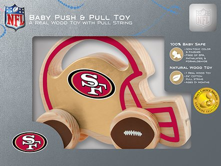 Masterpieces Nfl San Francisco 49Ers Natural Wood, Non-Toxic, Bpa, Phthalates, & Formaldehyde Free, Push & Pull Toy With Cotton String