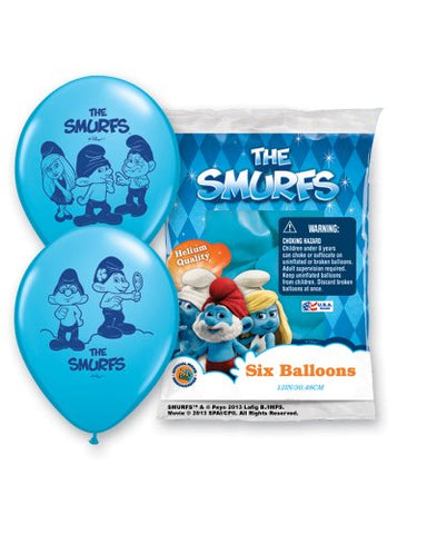 Pioneer National Latex The Smurfs 6 Count 12  Latex Balloons, Assorted