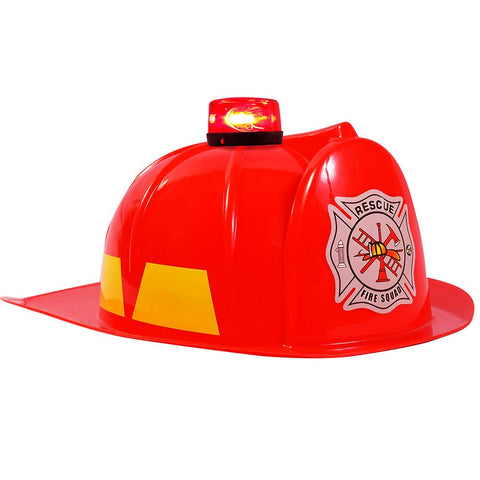 Dress Up Hats For Kids - Role Play Police And Fireman Hat With Light (Red Fireman Hat)