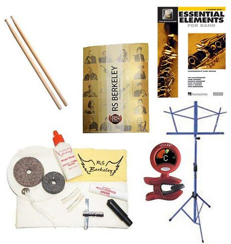 Drummers Super Pack - Essential Accessory Pack For The Drums: Includes: Drum Care & Cleaning Kit, Wood Tip Drumsticks, Music Stand, Band Folder, Essential Elements 2000 Band Book, & Tuner & Metronome