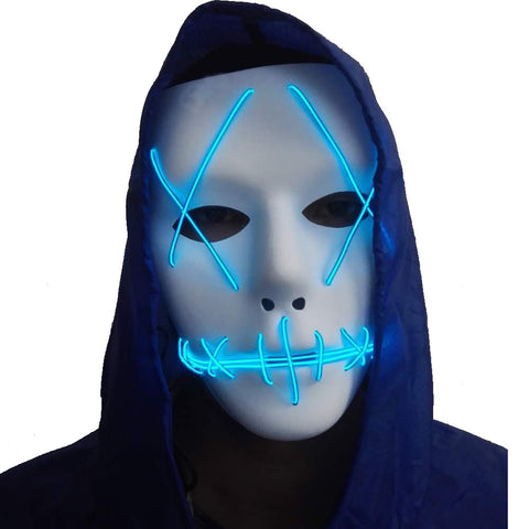 Halloween Mask Cosplay Led Glow Scary El Wire Light Up Grin Masks For Festival Parties Costume (Blue)