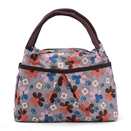 Zxke Windmills Print Design Lunch Bag Tote (Windmills gray)
