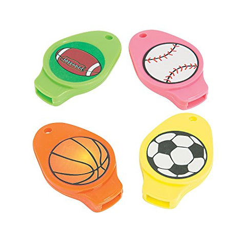 Plastic Flat Sport Whistles - - 2 Inches Assorted Colors And Sports Ball Designs - For Kids Boys And Girls Great Party Favors, Bag Stuffers, Fun Toy, Gift, Prize - By Kidsco