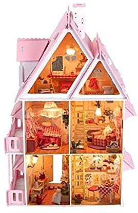 "Nwfashion Children'S 17"" 2 Floors With Furnitures Lights Diy Kits Assemble Miniature Wooden Dollhouse(Sunshine Alice)"