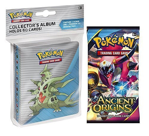 Pokemon X & Y Ancient Origins Mini Binder - Featuring Mega Tyranitar Mega Ampharos Mega Sceptile + Booster Pack
