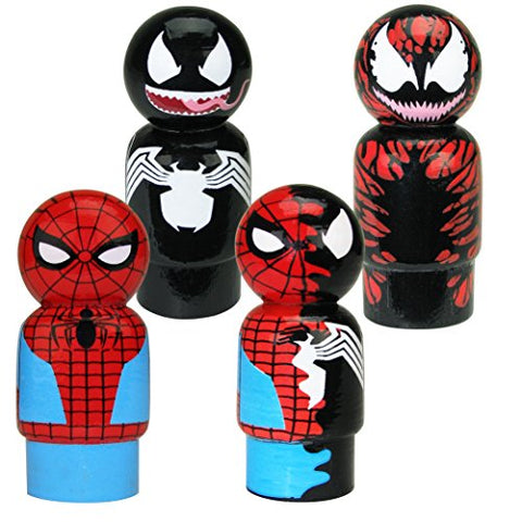 Bif Bang Pow! Spider-Man, Venom, Dual Spider-Man & Carnage Pin Mate Wooden Figure Set of 4 Collectible, 2
