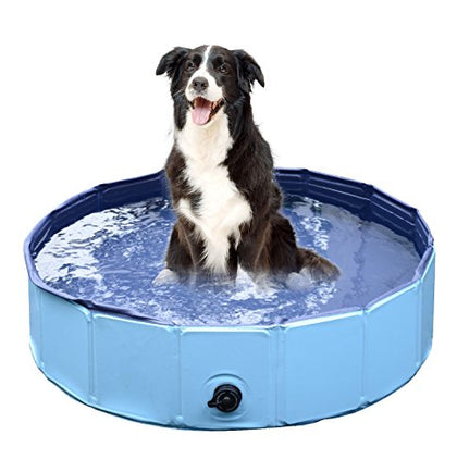Jasonwell Foldable Dog Pet Bath Pool,Collapsible Dog Pet Pool Bathing Tub for Dogs or Cats (32inch.D x 8inch.H, Blue)