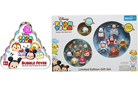 Disney Tsum Tsum Limited Edition Character Figures Gift Set Stackable Exclusive Collection + Tsum Tsum Bubble Fever Card Game Activity Bundle