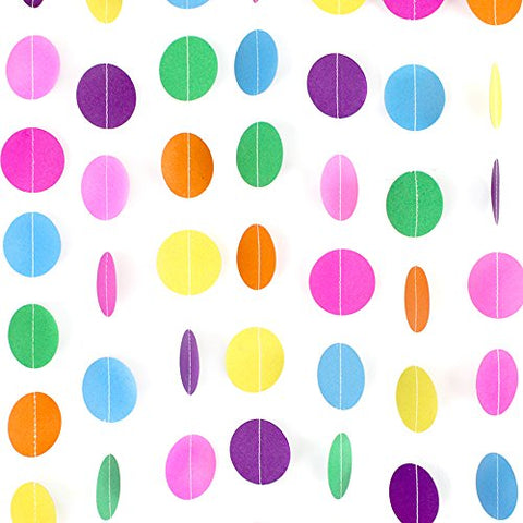 Coceca 66ft Colorful Paper Garland Circle Dots Hanging Decorations for Birthday Party Wedding Decorations