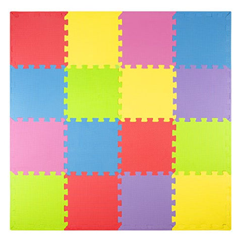 Foam Play Mats (16 Tiles + Borders) Safe Kids Puzzle Playmat | Non-Toxic Interlocking Floor Children & Baby Room Soft EVA Thick Color Flooring Square Babies Toddler Infant Exercise Area Carpet