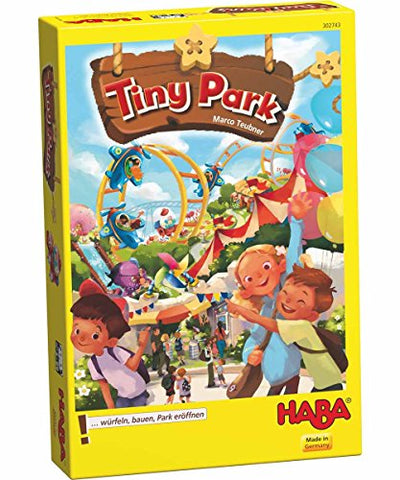 HABA Tiny Park - Risk Taking, Dice Rolling, Tile Laying, Amusement Park Building Game (Made in Germany)