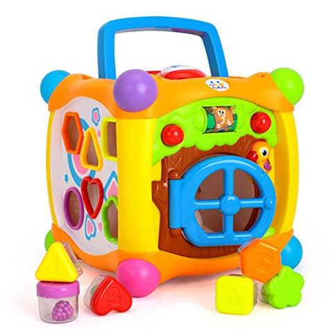 Geefia Activity Cube Toy Shape Match Sorting Cube Learning Education Toy with Music and Light