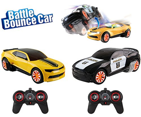 Police Chase 1:16 Remote Control Stunt RC Battle Bumper Cars Twin Pack (2 Player Game with 2.4 Ghz Radio Control Vehicles)