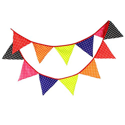 INFEI Multicolored big polka dots Vintage Fabric Flag Buntings Garlands Wedding Birthday Party Decoration