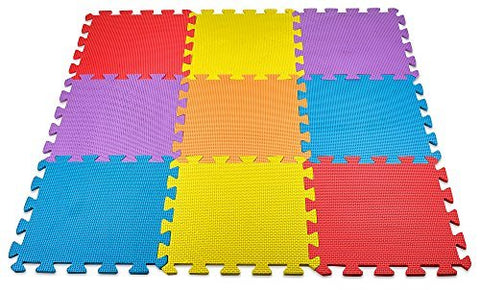 MEDca Floor Play Mat EVA Interlocking 10pk 11.5x11.5 Inches Assorted Soft Colors