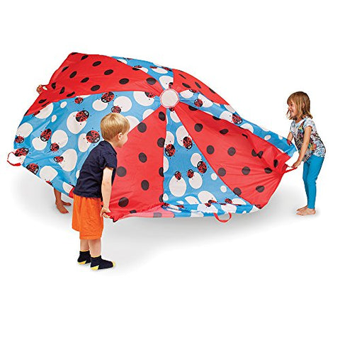 Pacific Play Tents Kids  Lady Bug  8 Foot Parachute with handles & Carry Bag for Indoor / Outdoor Fun