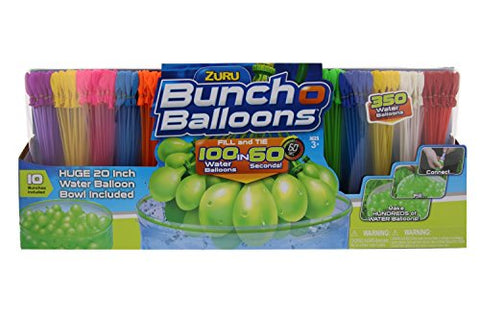 ZURU Bunch O Balloons, Fill in 60 Seconds, 350 Water Balloons, 20  Water Balloon Bowl Included