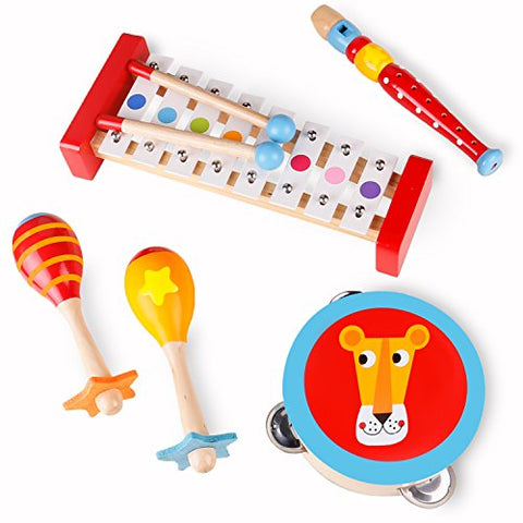 Toddler Toys Wooden Musical Instruments - Band in a Box 4 Piece Wooden Musical Toys for Kids