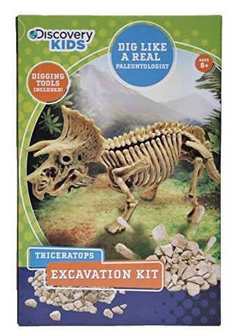 Discovery Kids Dinosaur Excavation Kit (TRICERATOPS) Fossil Model Bones Skeleton - with Digging Tools