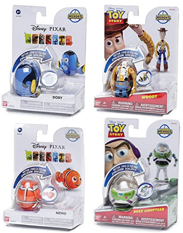 Disney Hatch 'n Heroes Pixar Complete Collection Toy Story Buzz Lightyear Woody & Finding Nemo & Dory Transforming Character Figure bundle