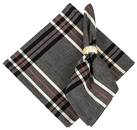 100% Cotton Grey Red &Amp; Black Plaid 22 X22  Napkin, Set Of 6 - Black Pearl