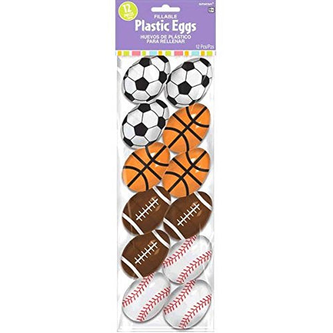 Egg-Stra Sporty Small Fillable Easter Egg Shells Party Favours, Plastic, 2