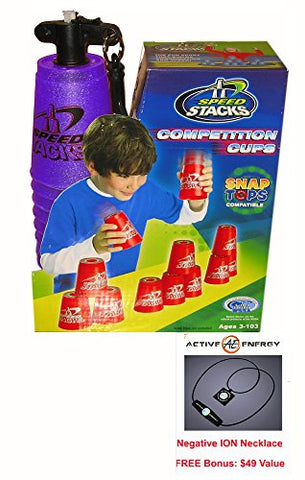 New Metallic Purple Speed Stacks Competition Cups with Bonus: Active Energy Power and Balance Necklace 49usd Value