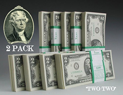 Two Dollar Bills - TWO (2) Consecutive Real Uncirculated and Rare $2 Bills in Collectible Currency Holder (Mint Condition)