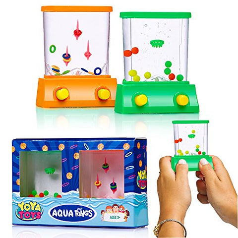 Handheld Water Game By YoYa Toys: A Set Of A Fish Ring Toss And A Basketball Aqua Arcade Toy In 2 Different Colors  Compact Mini Retro Pastime For Kids And Adults In A Gift Box