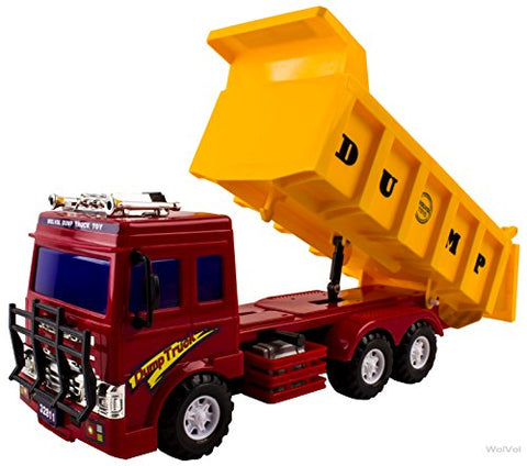 WolVol Big Dump Truck Toy for Kids with Friction Power (Heavy Duty)
