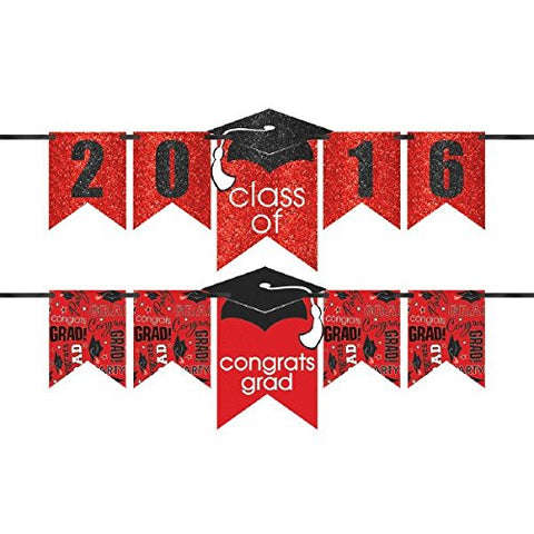 Class of 2016  Graduation Party  Congrats Grad!  Customizable Glitter Letter Banner Decoration, Red and Black, Paper, 12 Feet