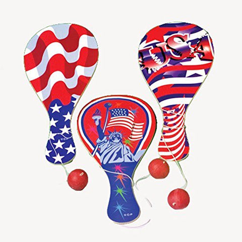 Lot Of 12 Assorted Patriotic Design Classic Wood Paddle Ball Games
