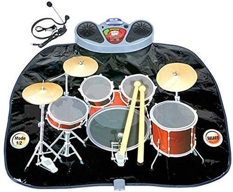 Rock 'N' Roll Electronic Drum Mat - Portable Electronic Drum Pad - Creative Electronic Drum Kit Set Floor Fun Play Mat - Amazing Gifts For Boys & Girls With Drumsticks Headphone And Micr