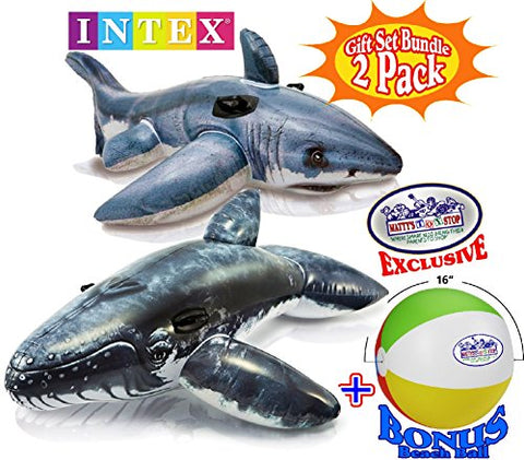 Intex Inflatable Pool Floats Realistic Great White Shark Ride-On (68 x42 ) & Realistic Whale Ride-On (79 x53 ) Gift Set Bundle with Bonus  Matty's Toy Stop  16  Beach Ball -