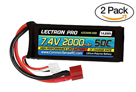 of Lectron Pro 7.4V 2000mAh 50C Lipo Battery with Deans-type Square Connector for Syma X8