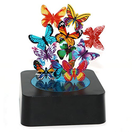 AblueA Magnetic Sculpture Desk Toy Coffee Table Piece As Office Gift Stocking Stuffer (Square Base - Butterflies)
