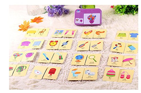 Baby Infant 32pcs Flash Card Jigsaw cognition puzzle Shape Matching Puzzle Cognitive Learning Early Education Card Learning Toys in a Box - Articles for daily use