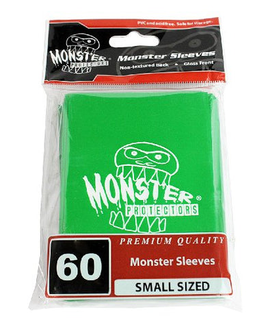 Sleeves - Monster Protector Sleeves - Smaller Size Gloss Finish w/Logo - Green (Fits Yugioh and Other Smaller Sized Gaming Cards)