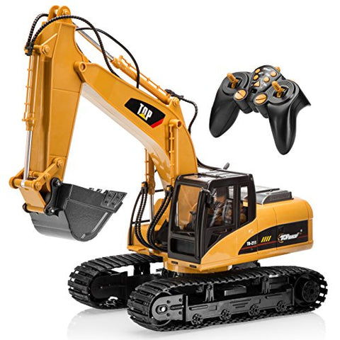 Top Race 15 Channel Full Functional Remote Control Excavator Construction Tractor, Excavator Toy with 2.4Ghz Transmitter and Metal Shovel  TR 211