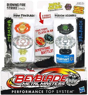 Beyblade, Metal Masters, Exclusive Burning Fire Strike Set (Burn Fireblaze #BB-59A and Poison Scorpio #B-110),