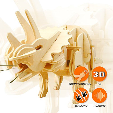 ROBOTIME 3D Wooden Dinosaur Puzzle DIY Woodcrafts Triceratops Model Toy Best Birthday Gifts for Boys & Girls