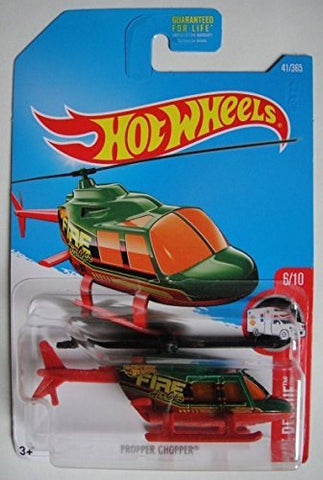 Hot Wheels 2017 HW Rescue, Propper Chopper Helicopter 41/365, Green and Red