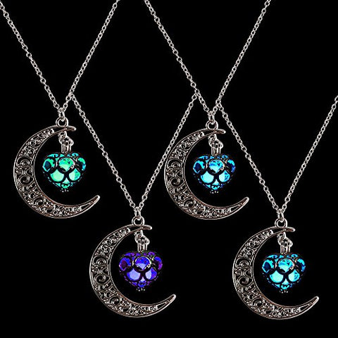 YGDZ Top Quality 4 Packs Luminous Series Moon Love Heart Pendant Necklace Fluorescent Necklace, Glow in the Dark(4 Colors)