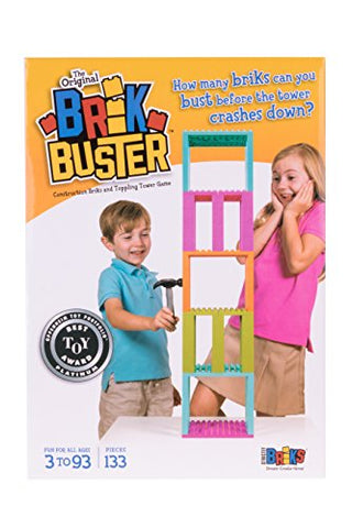 Brik Buster Tower Toppling Game by Strictly Briks Patent Pending | Stackem High then Bustem Down! | Award Winning Game Created by Kids for Kids | Fun for All Ages 3+ | 2+ Players | 133 Pieces